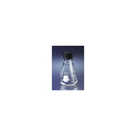 Erlenmeyer En Vidrio Claro con tapa rosca plástica