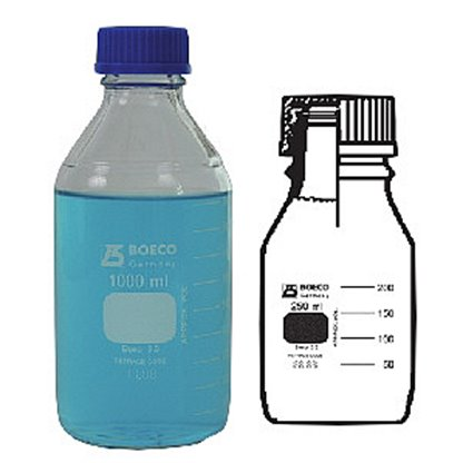 Frascos en vidrio Tapa rosca azul vidrio claro Capacidad: 10000 mL