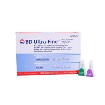 Agujas Para B-D Pen Calibre 31G X 8 Mm 320121 : Bd Venta: Caja Por 100 Utilizadas Para
