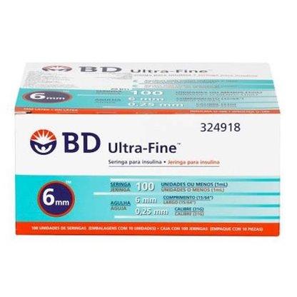 Jeringa Para Insulina 1 Ml. Con Aguja 31 G X 6 Mm. 324918 B.D. Caja X 100 Es. En Empaque