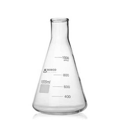 Erlenmeyer en vidrio claro boca angosta 500 ml