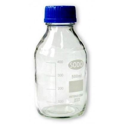 Frasco En Vidrio 5080445 Tapa Rosca Azul Vidrio Claro Capacidad 500 Ml Con Boca Ancha Y Tapa D Boeco