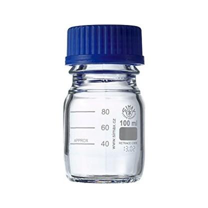 Frasco En Vidrio Tapa Rosca Azul Vidrio Claro Capacidad 100 Ml