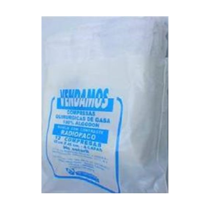 Compresas de Gasa Precortada de 45 x 50 cms x 2 capas con Cinta Radiopaca