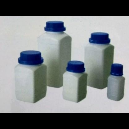 Frascos en plástico boca ancha rectangular tapa azul