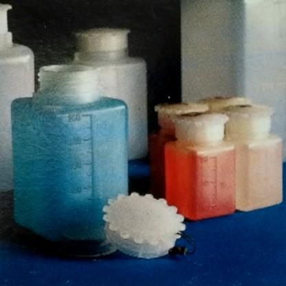 Frascos en plástico Graduado rectangular de cuello ancho con tapón y rosca