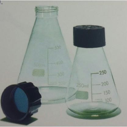 Erlenmeyer 075.202.04 250 Ml En Vidrio Claro Con Tapa Rosca Plástica Fabricado En Vidrio Glassco